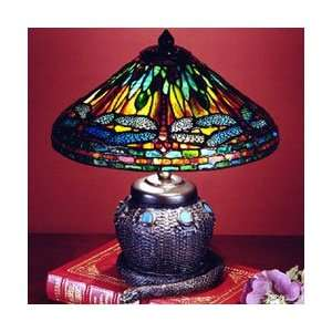 Dale Tiffany 101205 Dragonfly Mini Table Lamp, Antique Bronze and Art