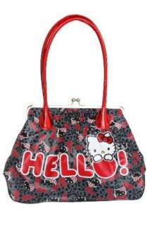 Hello Kitty Black And Red Foil Kisslock Handbag Clothing
