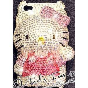 3D Big HELLO KITTY Pink & Silver iPhone 4 & 4S Bling Case