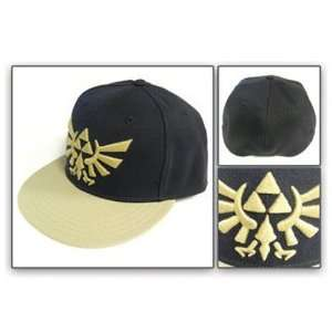 Zelda Triforce Gold Emblem Black Flat Bill Cap