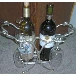 Golinger Silver Art Wine Bottle & Glass Holder