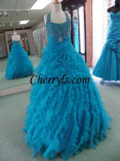 2012 PERFECT ANGELS 1421 Turq Size 12 GIRLS NATIONAL PAGEANT DRESS