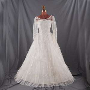 VINTAGE 50s White PRINCESS Sheer Tulle Wedding DRESS S
