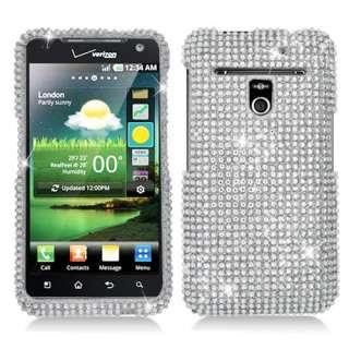 LG Esteem MS910 Metro PCS Silver Bling Diamond Hard Case Cover +Screen