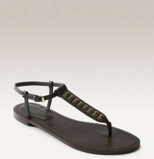Burberry Womens Metal Stitch Brown Leather Thongs Sandals 36.5 size 6