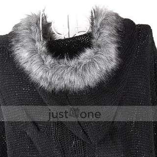 Trendy Women Girls Casual Faux Fur Hooded Bat Sleeve Loose Knit