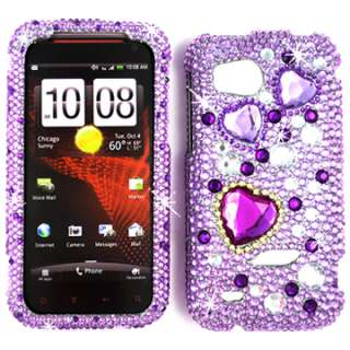 PURPLE HEARTS DIAMOND 3D BLING CRYSTAL FACEPLATE CASE COVER HTC VIGOR