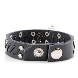 Black Leather Buckle Cuff Belt Bracelet Wristband Cool
