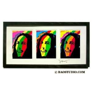 3x Bob Marley   Framed Pop Art By Jbao (Signed Dated