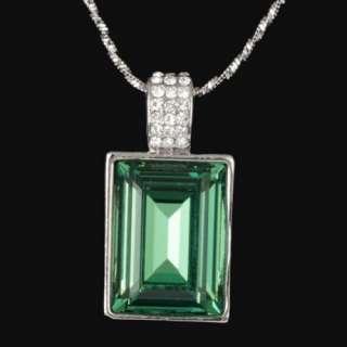 ARINNA green square fashion pendant Necklace white gold GP swarovski