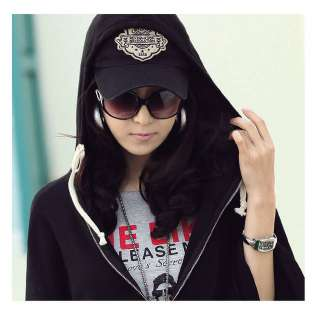 Korean Women Batwing Hoodie Cardigan Jacket Coat Black 0934