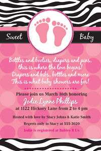 20 Mod Zebra Print Baby Shower Birthday Invitations