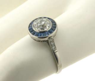Antique Art Deco 1C Diamond Sapphires Platinum Ring