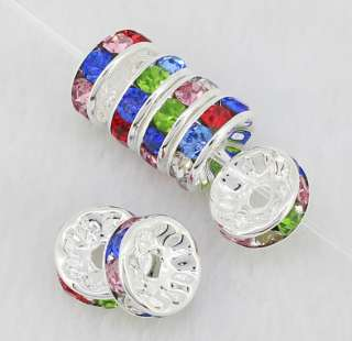 10mm Mix Color Crystal Silver Plated Rondelle Spacer Loose Beads