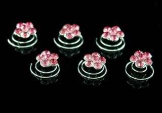 pcs setX Bridal Pink Flower Crystal Hair Twists P1113