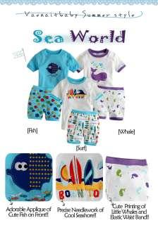 Toddler Boy Girl Short Sleeve Sleepwear Pajama Set Sea World
