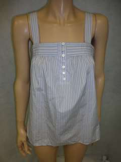Crew Light Blue White Striped Cotton Tank Top Shirt 2 XS
