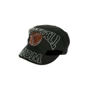 Black Cadet Style Rhinestone Studded Football Mom Hat