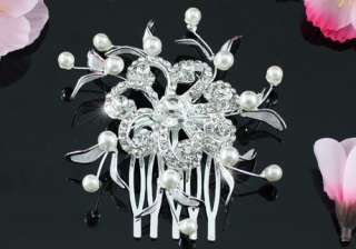 Bride / Bridesmaid Flower Faux Pearl Hair Comb T1343