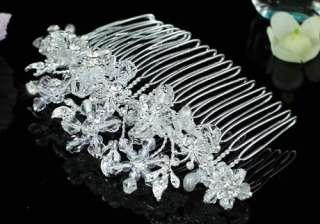 Bridal Handmade Flower Hair Comb use Swarovski Crystal T1441