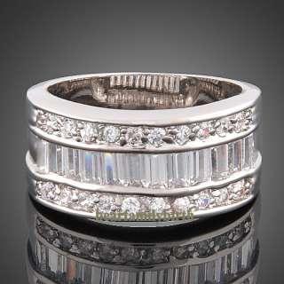18K white GOLD GP Swarovski crystal wedding ring 1767 size 8