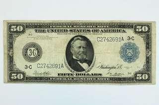 1914 Fifty Dollar $50 Bill Federal Reserve Note Blue Seal Philadelphia