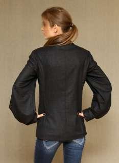 GIANFRANCO FERRE $1800 bishop sleeves GRAY WOOL JACKET blazer coat NEW