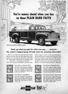 1951 Chevy Stepside Pickup Truck Original Ad