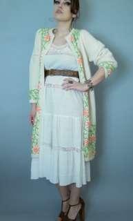 Vintage 50 60s white Lace Bohemian Hippie gauze cotton Dress