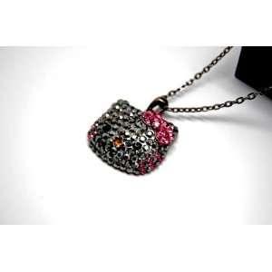 Gray Hello Kitty Swarovski Crystal W/Pink bow Necklace w/FREE Kitty