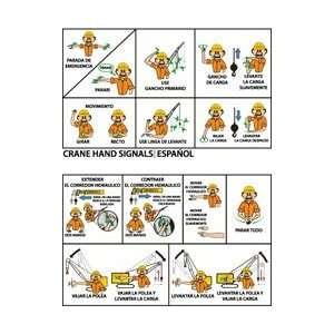 M730AP   Crane Hand Signals, Spanish, 2 X 3 1/4, Laminated, 25 per