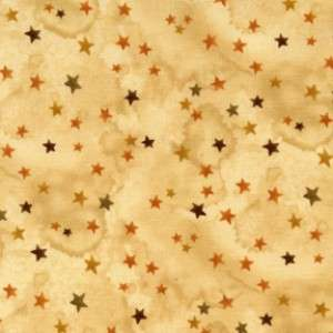 Haunted Hallow Yellow Stars Primitive Tea Dyed Look Fabric 19017 YEL