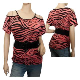 Plus size Animal Print Belt Accent Top Orange
