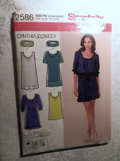 Simplicity 2586 Sewing Pattern Misses Tunic Dress Cynthia Rowley 6 22