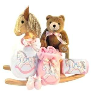 Wooden Rocking Horse Gift Set in Pink for New Baby Girls