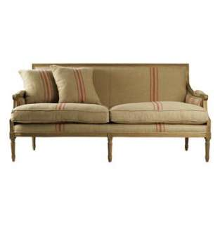 Louis XVI French Country Linen Sofa with Red Stripe