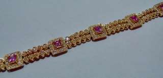 14kt Gold Princess Cut PINK SAPPHIRE & Diamond BRACELET Stunning