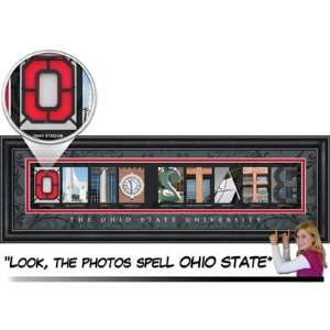 Ohio State Buckeyes 8 X 20 Classic Letter Art   Black