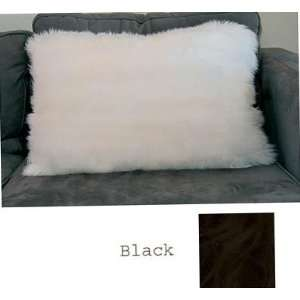 16 x 24 Sheepskin Bed Pillow High Quality Black (Black