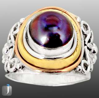 size 7 1/2 VICTORIAN TITANIUM PEARL 925 STERLING SILVER SOLITAIRE RING
