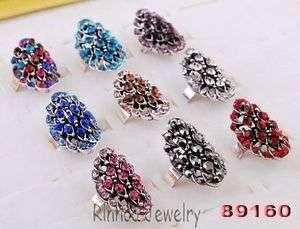 25p Flower 28*15MM Fancy Rhinestone Crystal Bead Tibet Silver