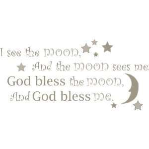 God Bless BABY PRAYER I See the Moon Wall Sticker Nursery Room Decor