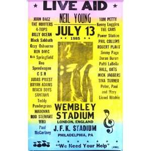 Live Aid Neil Young, Tom Petty, Mick Jagger 14 X 22 Vintage Style