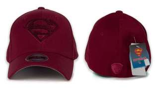 Superman Woolly Logo Baseball Cap Flexfit Spandex Hat Burgundy AC215