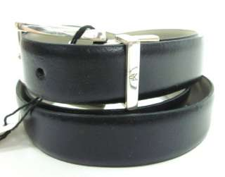 NWT CALVIN KLEIN Navy Blue Leather Silver Tone Belt M