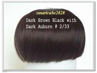 Clip on Full Bang Hair Wig   Dark Brown Auburn #2/33
