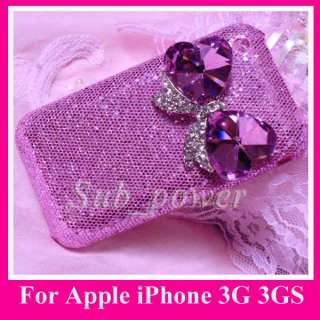 New 3D Rhinestone pink BOW Bling Crystal Case cover for iPhone 3G S