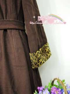 yrfashion Korea Women F9 Luxury 100% Wool Leopard Collar Brown Pleated