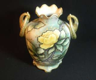 Hand Painted Nippon Floral Vase Stamp # 52 Green