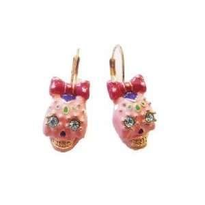 Viva la Betsey Collection Dia de los Muertos Leverback Pink Enamel